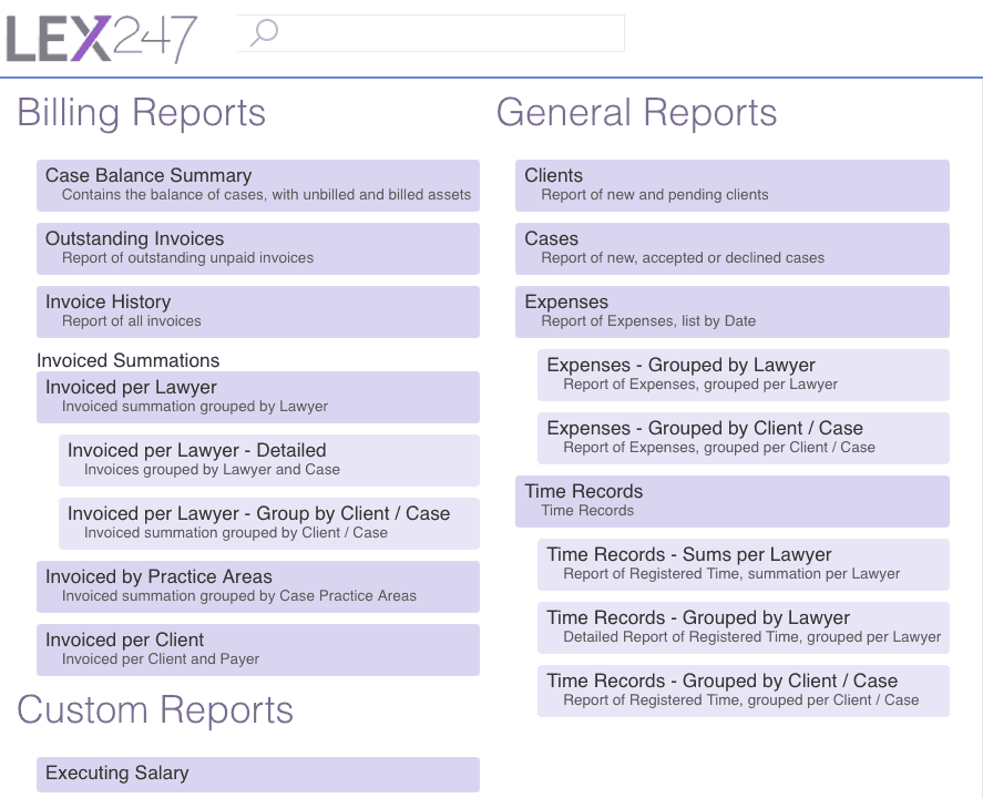 LEX247 Business Reports